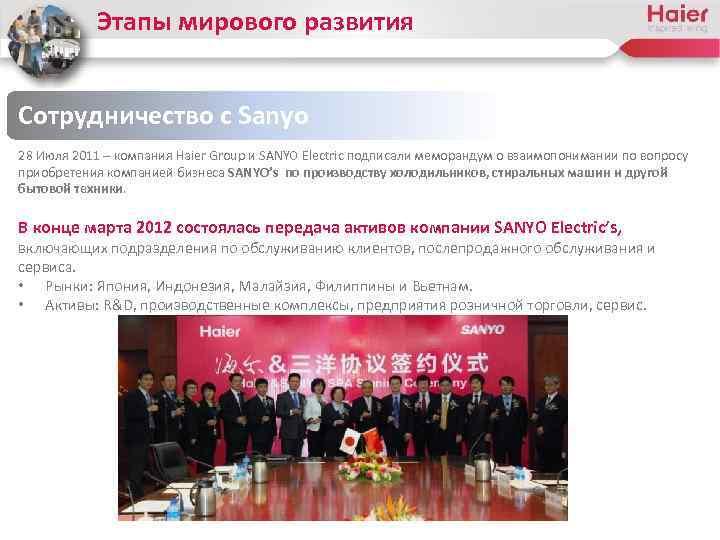 Этапы мирового развития Сотрудничество с Sanyo 28 Июля 2011 – компания Haier Group и