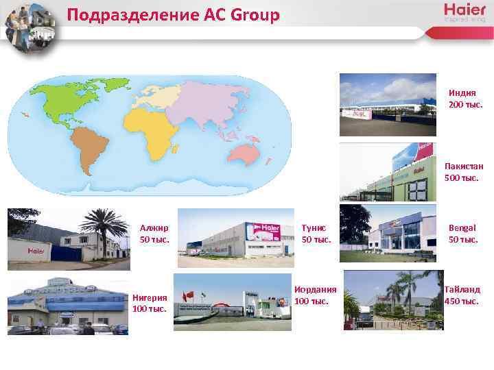 Подразделение AC Group Индия 200 тыс. Пакистан 500 тыс. Алжир 50 тыс. Нигерия 100