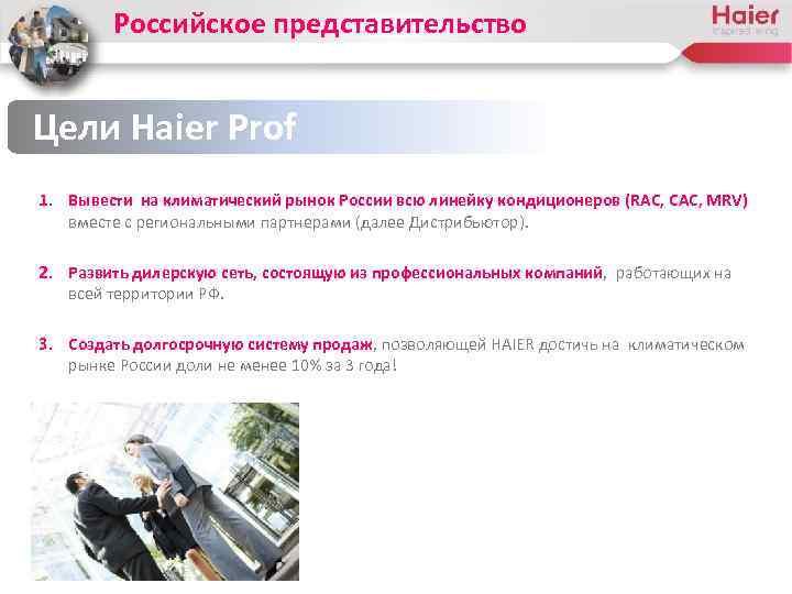 Российское представительство Цели Haier Prof 1. Вывести на климатический рынок России всю линейку кондиционеров