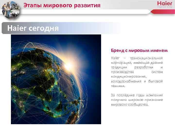 Этапы мирового развития Haier сегодня Бренд с мировым именем Haier – транснациональная корпорация, имеющая