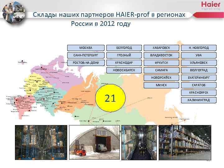 Склады наших партнеров HAIER-prof в регионах России в 2012 году МОСКВА БЕЛГОРОД ХАБАРОВСК Н.