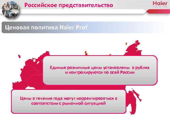Российское представительство Ценовая политика Haier Prof Единые розничные цены установлены в рублях и контролируются