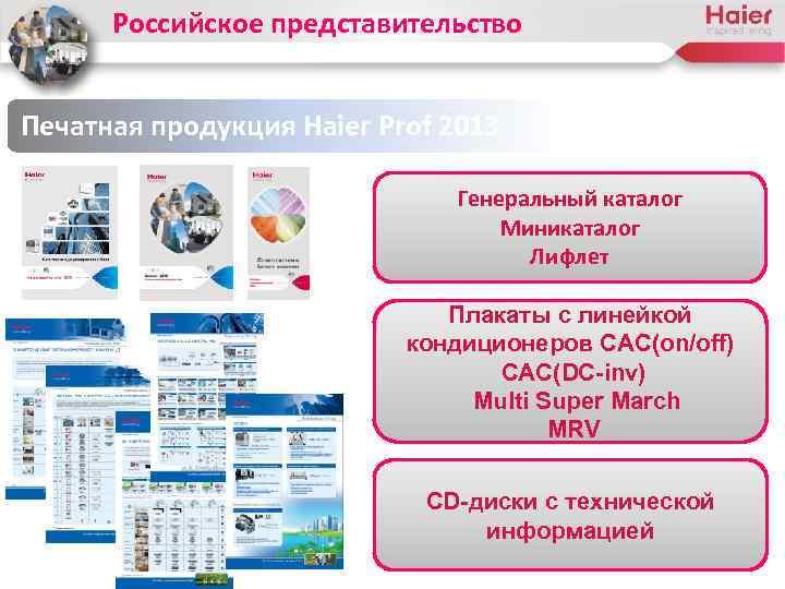 Российское представительство Печатная продукция Haier Prof 2013 Генеральный каталог Миникаталог Лифлет Плакаты с линейкой