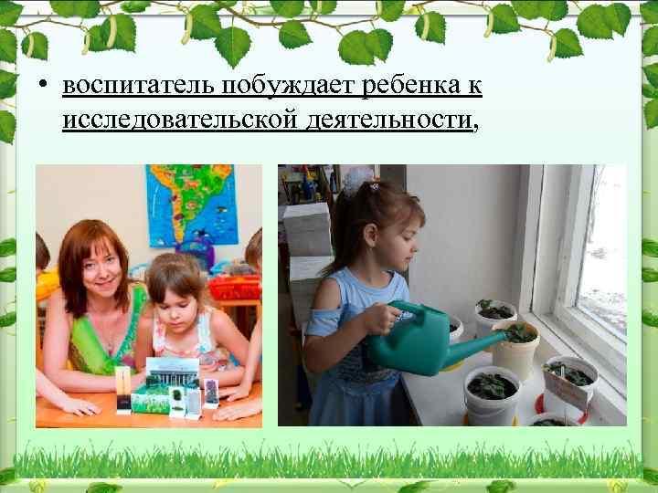 • воспитатель побуждает ребенка к исследовательской деятельности,
