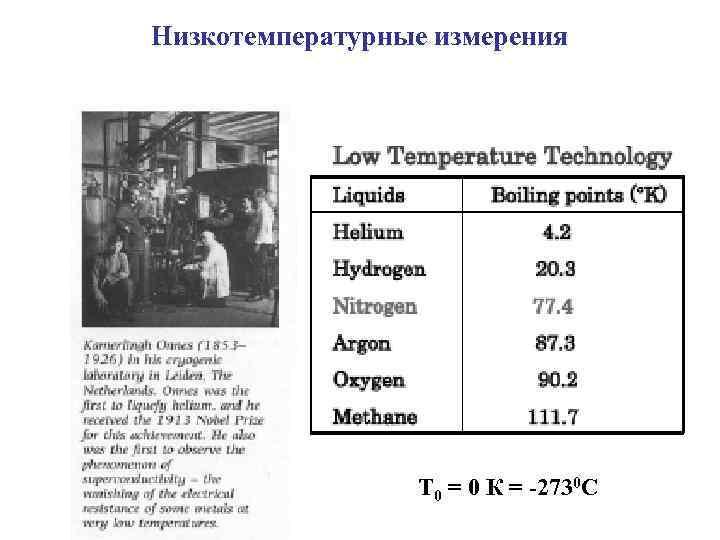 Низкотемпературные измерения Т 0 = 0 К = -2730 С