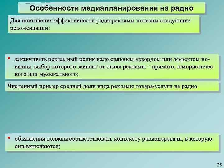 Особенности медиапланирования на радио Для повышения эффективности радиорекламы полезны следующие рекомендации: • заканчивать рекламный