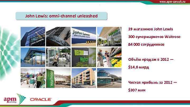 John Lewis: omni-channel unleashed 39 магазинов John Lewis 300 супермаркетов Waitrose 84 000 сотрудников
