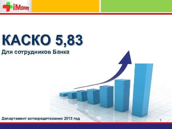 КАСКО 5, 83 Для сотрудников Банка Департамент автокредитования 2013 год 1