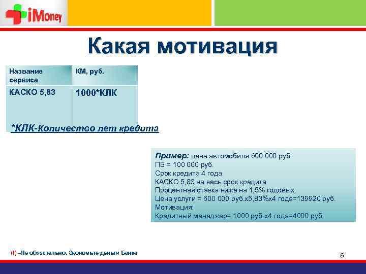 Какая мотивация Название сервиса КМ, руб. КАСКО 5, 83 1000*КЛК-Количество лет кредита Пример: цена