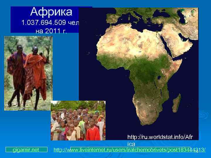 Африка 1. 037. 694. 509 чел. на 2011 г. gigamir. net http: //ru. worldstat.