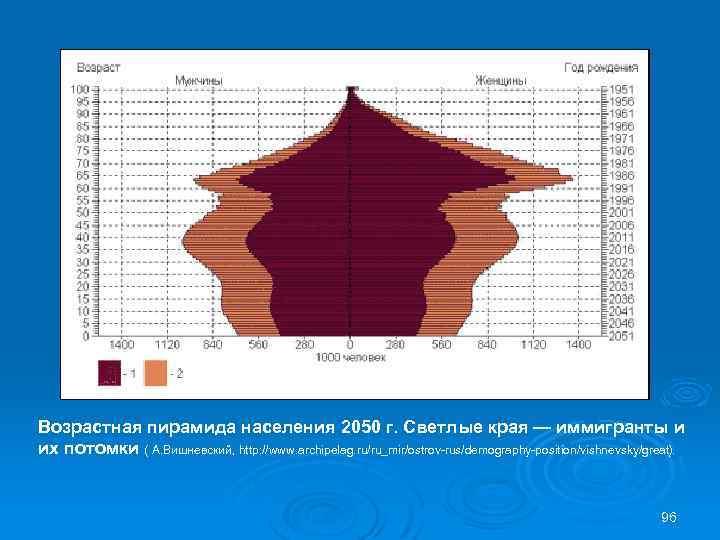 Возрастная пирамида населения 2050 г. Светлые края — иммигранты и их потомки ( А.