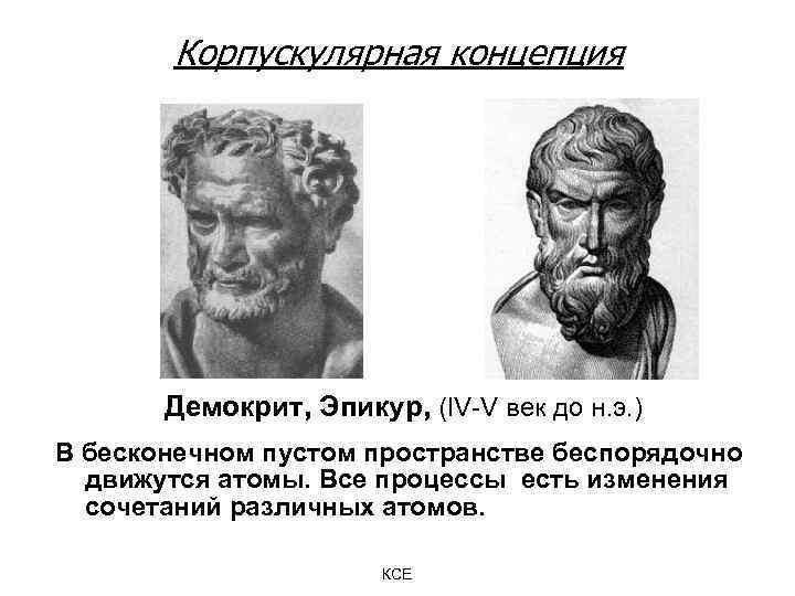 Корпускулярная концепция Демокрит, Эпикур, (IV-V век до н. э. ) В бесконечном пустом пространстве