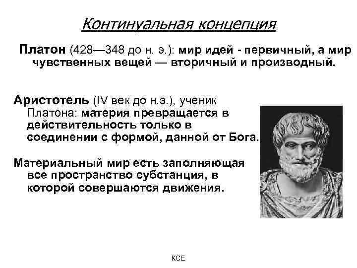 Континуальная концепция Платон (428— 348 до н. э. ): мир идей - первичный, а