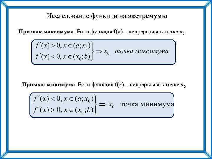 Исследование функции на экстремумы Признак максимума. Если функция f(x) – непрерывна в точке х0