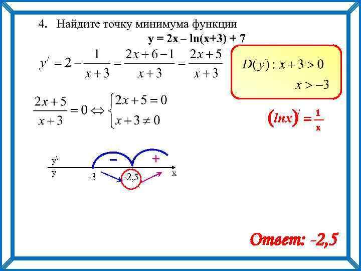 4. Найдите точку минимума функции y = 2 х – ln(x+3) + 7 (lnx)