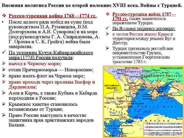 Внешняя политика России во второй половине XVIII века. Войны с Турцией. v Русско-турецкая война