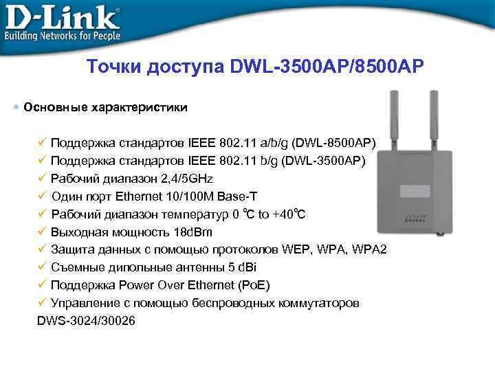 Точки доступа DWL-3500 AP/8500 AP • Основные характеристики ü Поддержка стандартов IEEE 802. 11