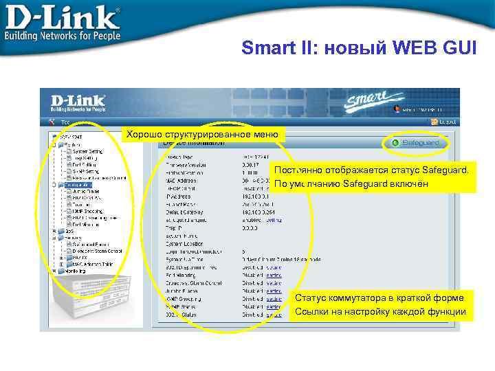 Smart II: новый WEB GUI Хорошо структурированное меню Постоянно отображается статус Safeguard. По умолчанию