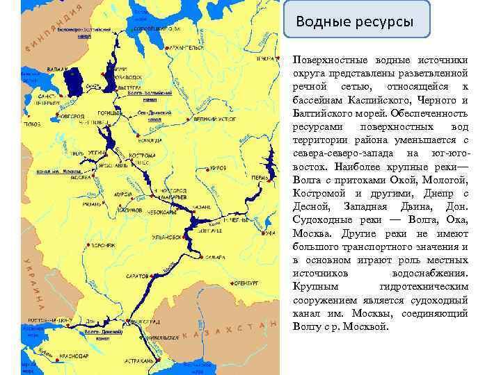 Водные ресурсы Поверхностные водные источники округа представлены разветвленной речной сетью, относящейся к бассейнам Каспийского,