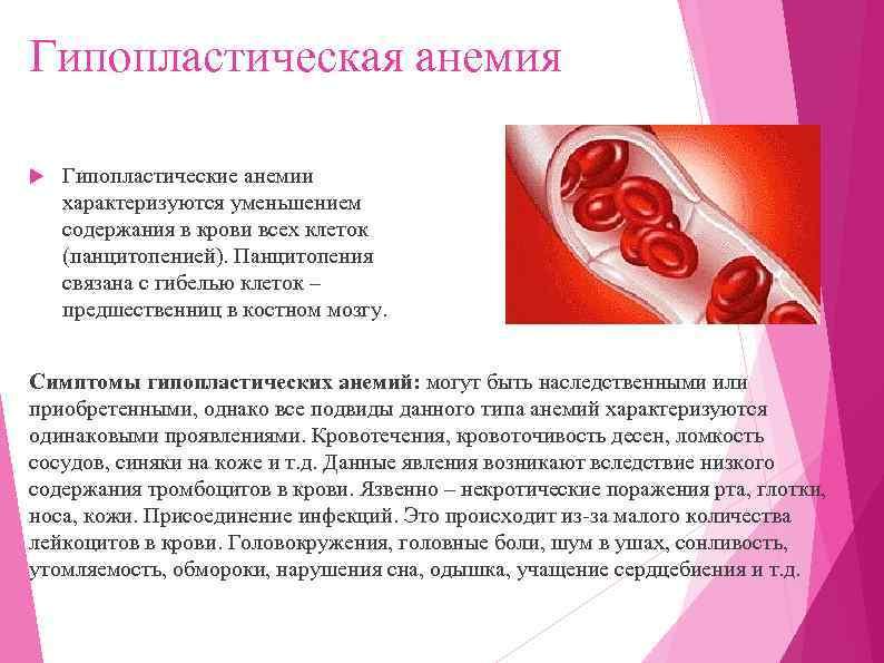 Гипопластическая анемия Гипопластические анемии характеризуются уменьшением содержания в крови всех клеток (панцитопенией). Панцитопения связана