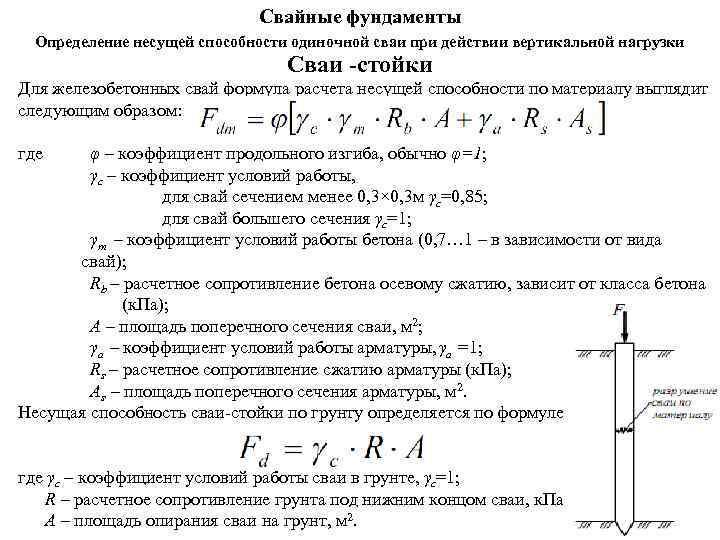 Свайные фундаменты Определение несущей способности одиночной сваи при действии вертикальной нагрузки Сваи -стойки Для