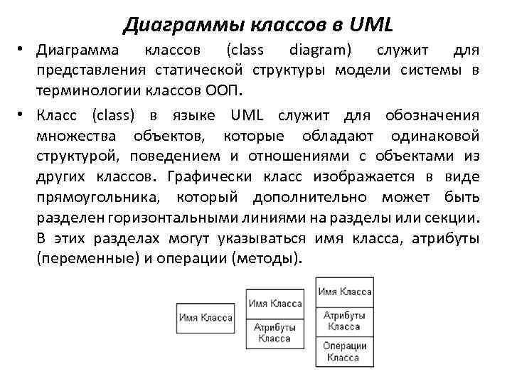 Диаграммы классов в UML • Диаграмма классов (class diagram) служит для представления статической структуры