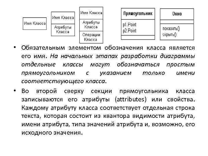 • Обязательным элементом обозначения класса является его имя. На начальных этапах разработки диаграммы