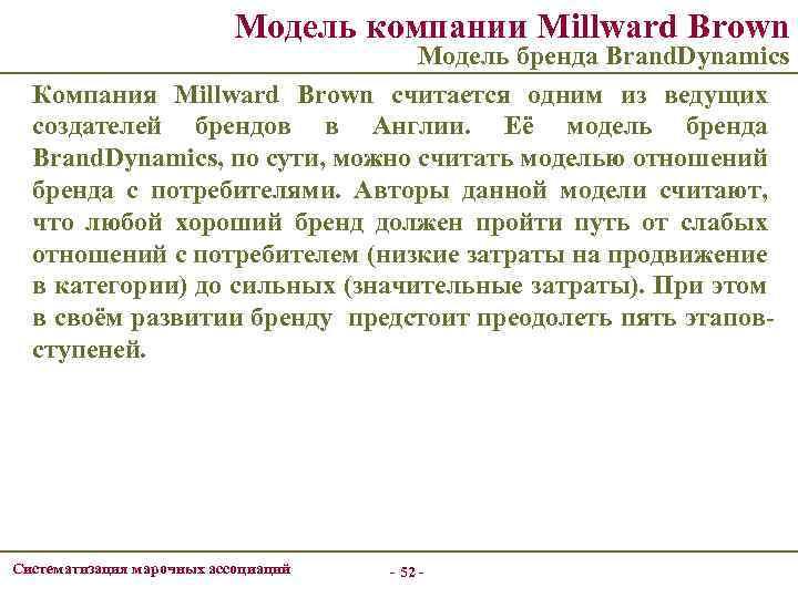 Модель компании Millward Brown Модель бренда Brand. Dynamics Компания Millward Brown считается одним из