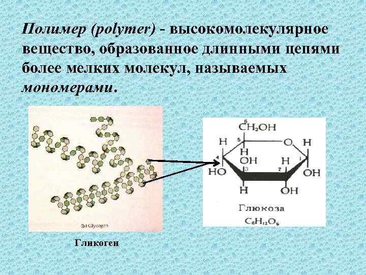 Полимер (polymer) - высокомолекулярное вещество, образованное длинными цепями более мелких молекул, называемых мономерами. Гликоген