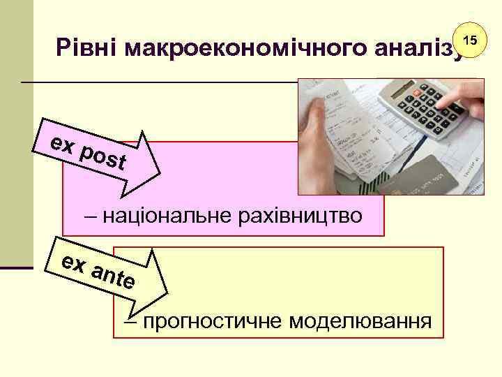 Рівні макроекономічного аналізу 15 ex p ost – національне рахівництво ex a nte –