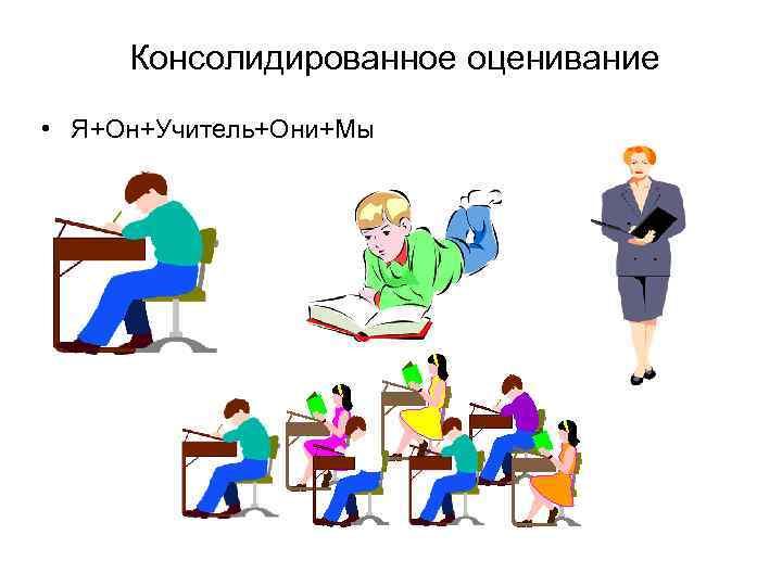 Консолидированное оценивание • Я+Он+Учитель+Они+Мы
