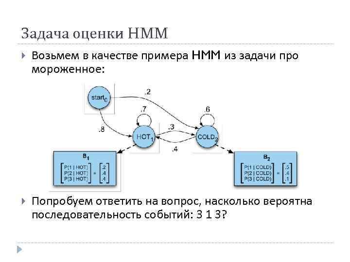 Задача оценки HMM Возьмем в качестве примера HMM из задачи про мороженное: Попробуем ответить