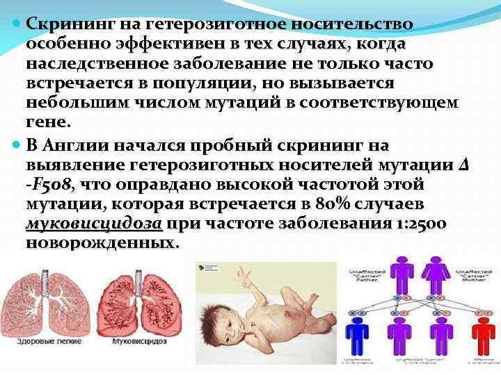Скрининг на гетерозиготное носительство особенно эффективен в тех случаях, когда наследственное заболевание не