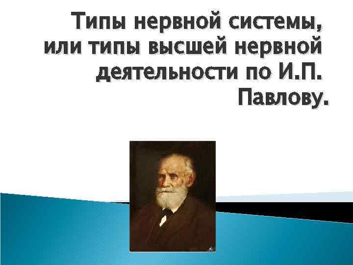 Типы нервной системы, или типы высшей нервной деятельности по И. П. Павлову.