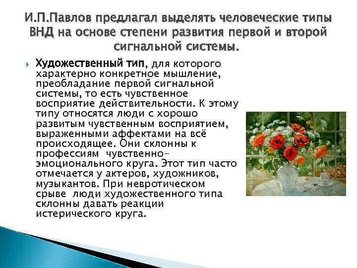 И. П. Павлов предлагал выделять человеческие типы ВНД на основе степени развития первой и