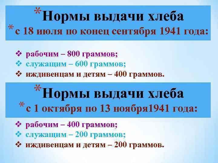 *Нормы выдачи хлеба * с 18 июля по конец сентября 1941 года: v рабочим