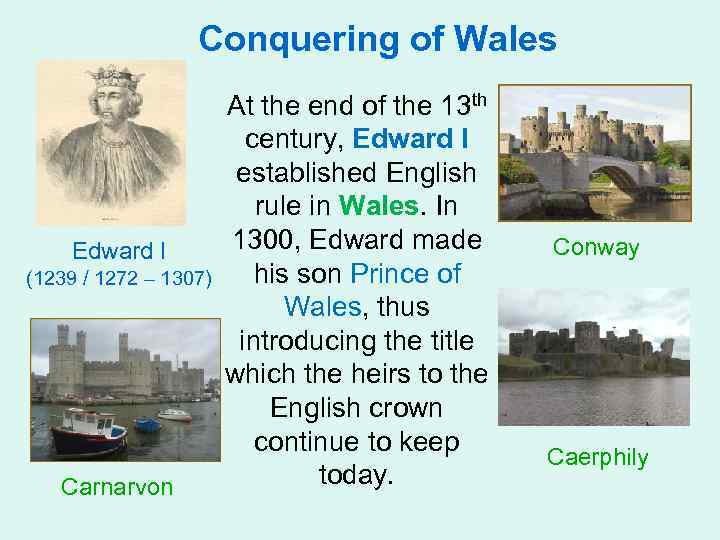 Conquering of Wales Edward I (1239 / 1272 – 1307) Carnarvon At the end