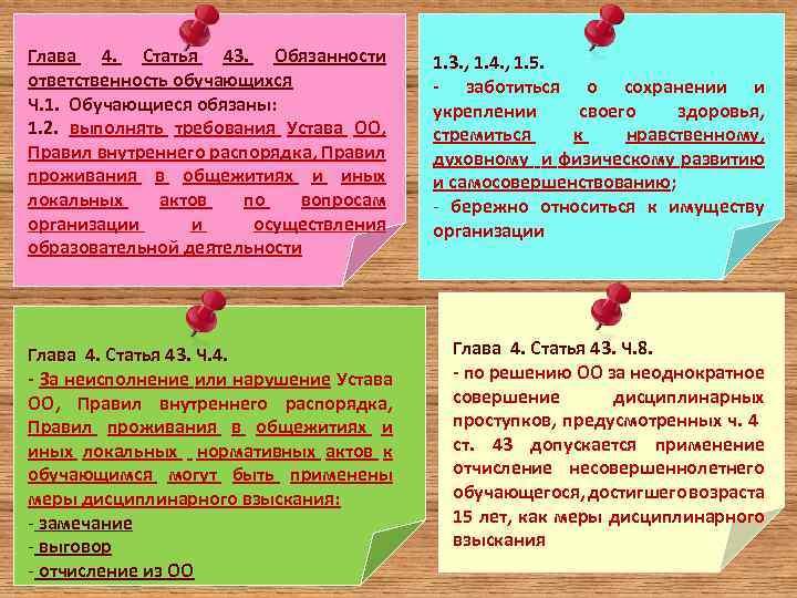 Глава 4. Статья 43. Обязанности ответственность обучающихся Ч. 1. Обучающиеся обязаны: 1. 2. выполнять