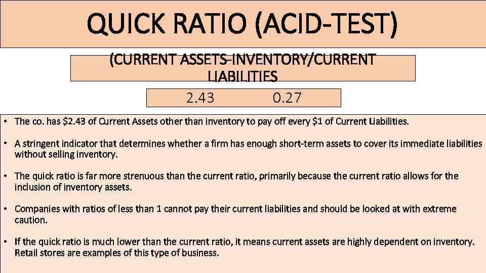 QUICK RATIO (ACID-TEST) (CURRENT ASSETS-INVENTORY/CURRENT LIABILITIES 2. 43 0. 27 • The co. has