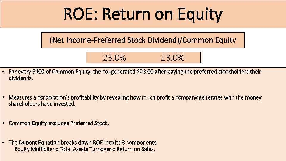 ROE: Return on Equity (Net Income-Preferred Stock Dividend)/Common Equity 23. 0% • For every