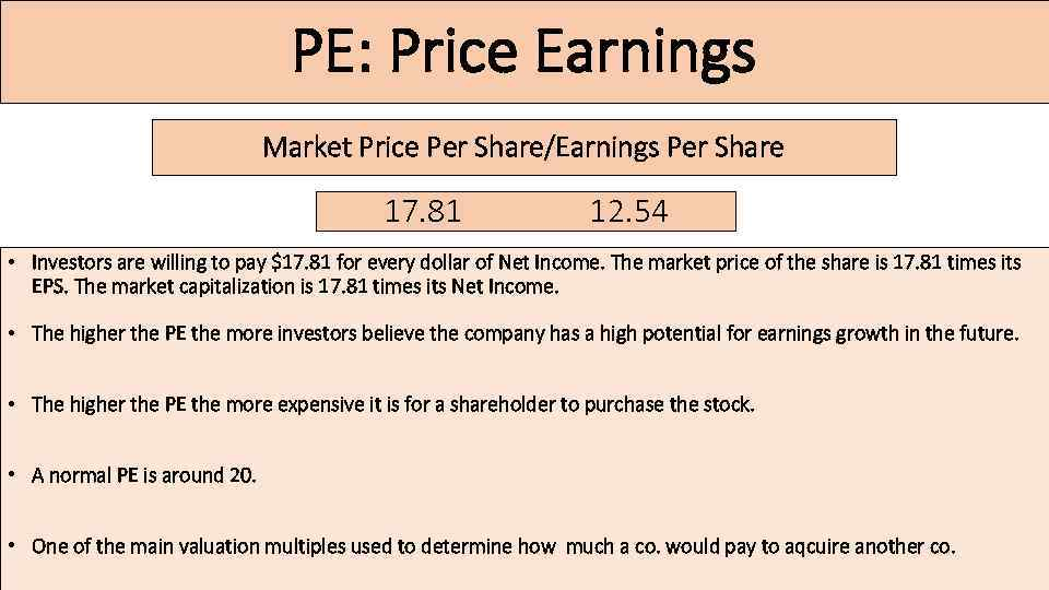 PE: Price Earnings Market Price Per Share/Earnings Per Share 17. 81 12. 54 •