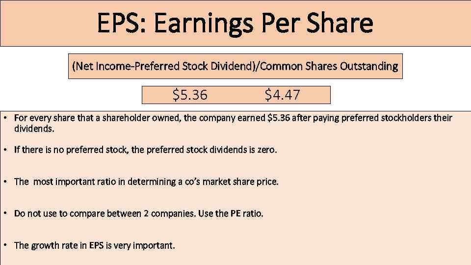 EPS: Earnings Per Share (Net Income-Preferred Stock Dividend)/Common Shares Outstanding $5. 36 $4. 47