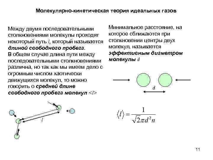 Молекулярно-кинетическая теория идеальных газов Между двумя последовательными столкновениями молекулы проходят некоторый путь l, который