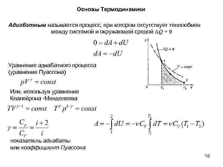 Основы Термодинамики Адиабатным называется процесс, при котором отсутствует теплообмен между системой и окружающей средой