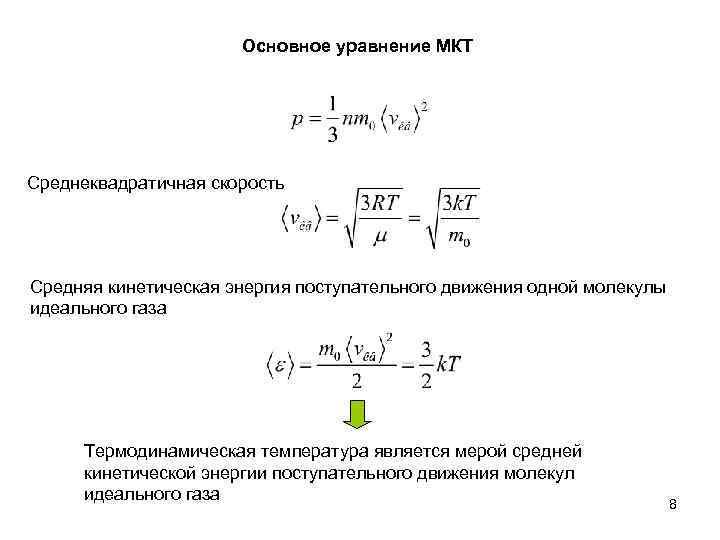 Основное уравнение МКТ Среднеквадратичная скорость Средняя кинетическая энергия поступательного движения одной молекулы идеального газа