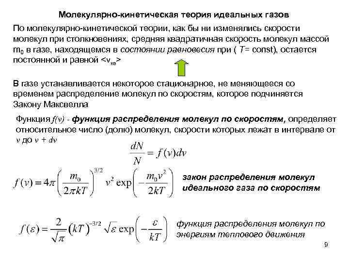 Молекулярно-кинетическая теория идеальных газов По молекулярно-кинетической теории, как бы ни изменялись скорости молекул при