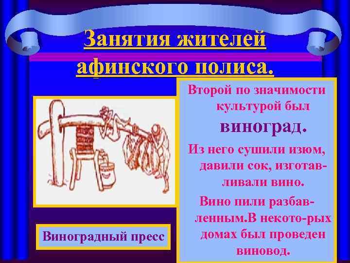 Занятия жителей афинского полиса. Второй по значимости культурой был виноград. Виноградный пресс Из него