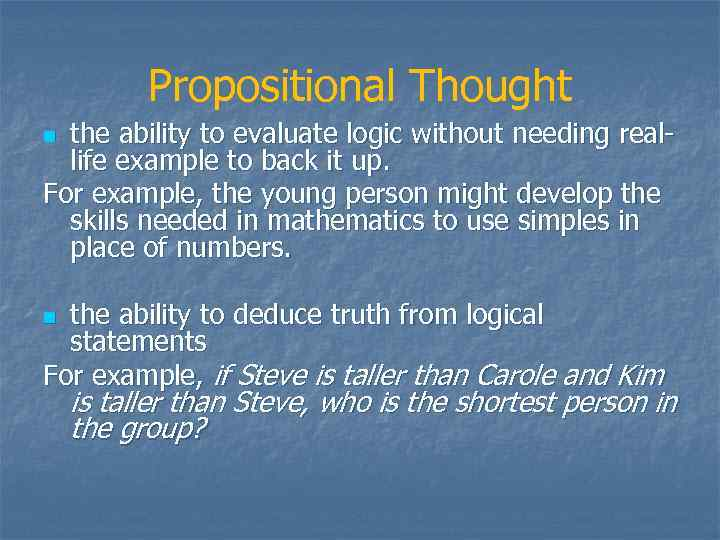 propositional thought piaget