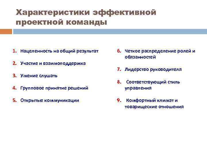 Характеристики эффективной проектной команды 1. Нацеленность на общий результат 2. Участие и взаимоподдержка 3.