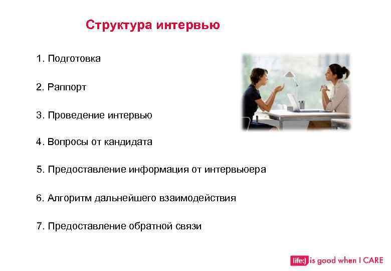 Структура интервью 1. Подготовка 2. Раппорт 3. Проведение интервью 4. Вопросы от кандидата 5.